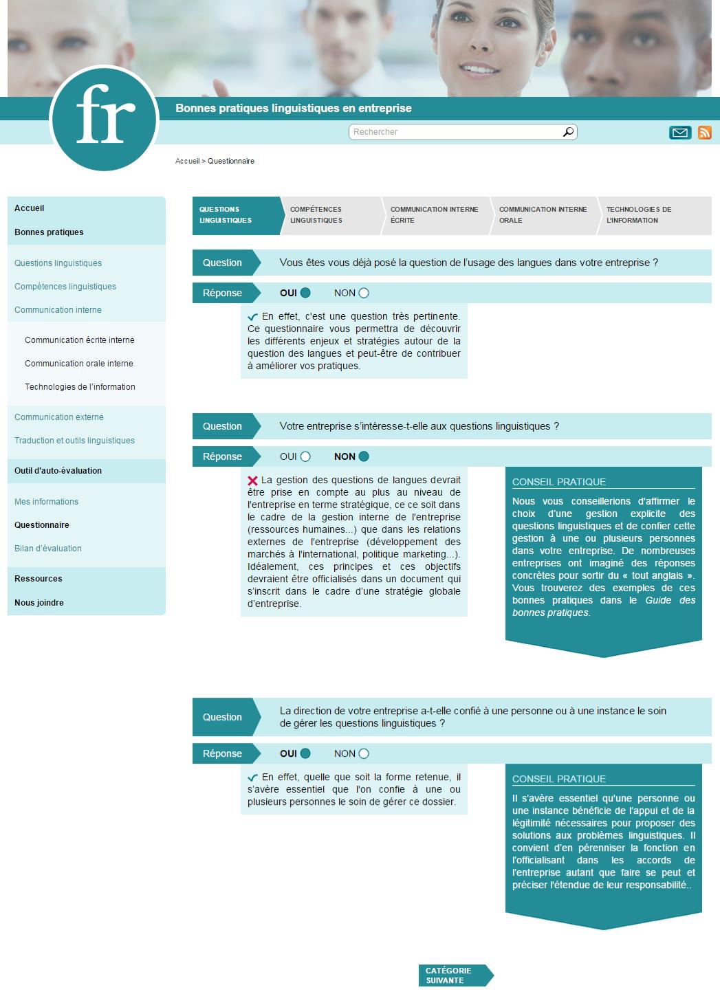 Questionnaire   Bonnes pratiques linguistiques en entreprise